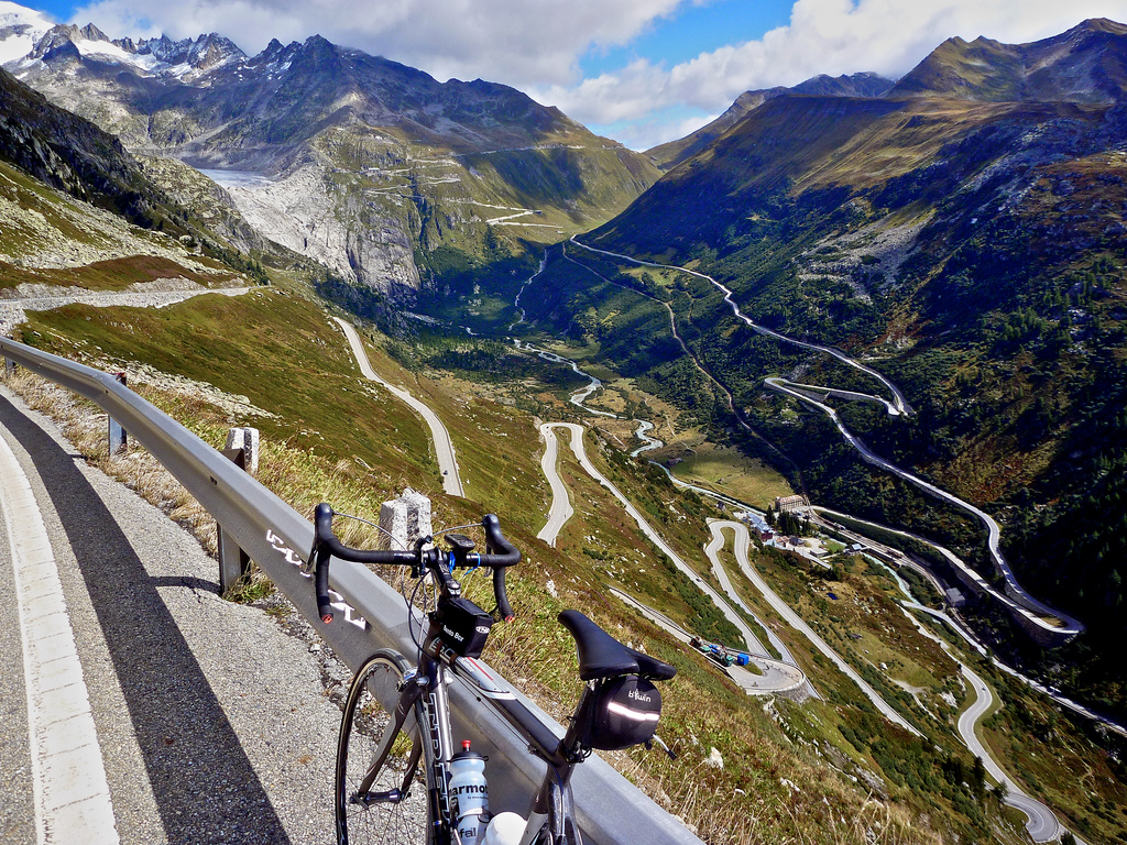 Grimsel hairpins.  Furka pass in the distance.