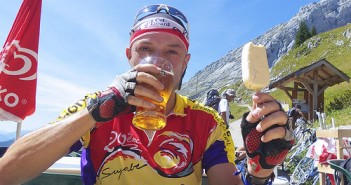 Beer and ice cream at Col de la Colombière