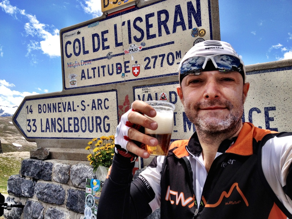 Col de l'Iseran bike only day - Grey Beard drinks beer