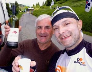 Wine!  Kind stranger atop Joux Plane