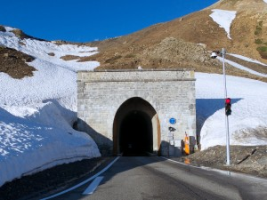 The Galibier tunnel is only wide enough for one car, so direction is regulated by traffic lights