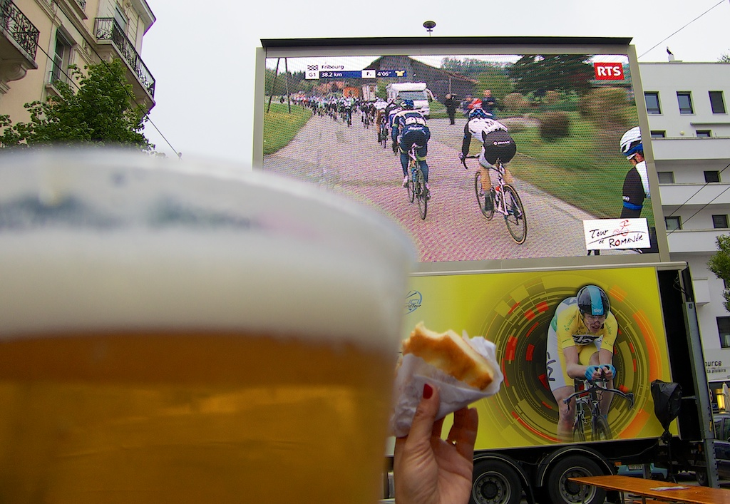 Big screen near the finish line.