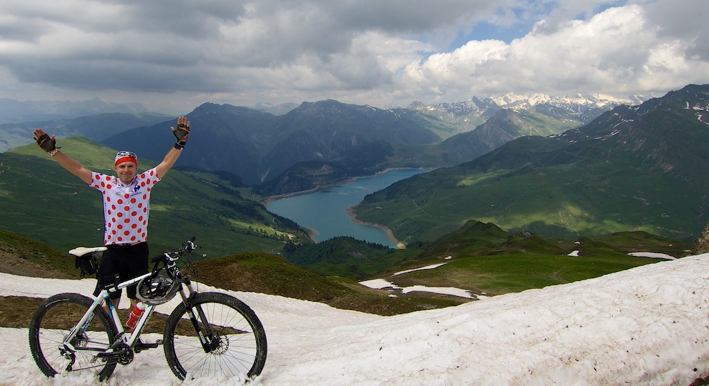 Col du Couvercle - 2295 metres.  View of Barrage and Lac de Roselend below