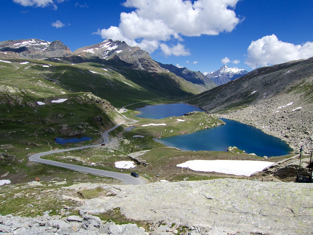 view over the top of the col.  Paved road ends beyond 2nd big lake