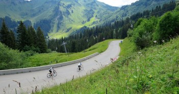 Morzine side.  Cycling on ski slopes