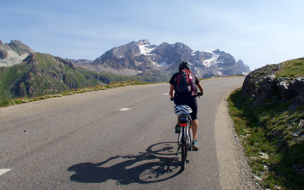 Cycling the highest mountain pass in Europe on an E-bike.