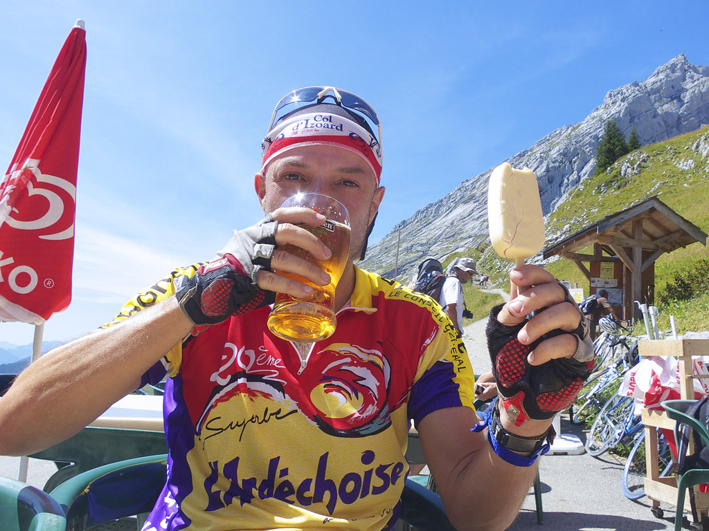 Beer and ice cream atop Col de la Colombière