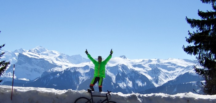 4 kms below summit.  Mont Blanc views
