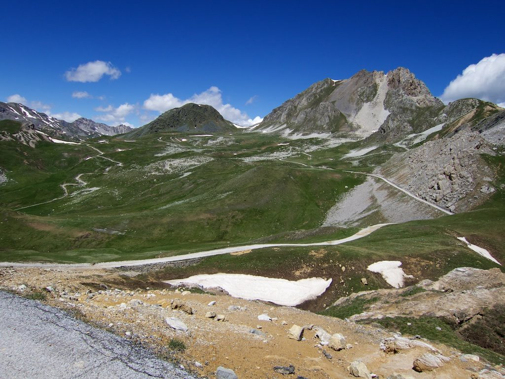 I would take the road on the right, that then sweeps towards and over  Colle della Bandia, top left