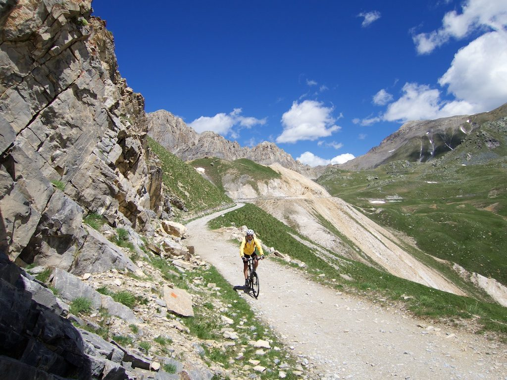 unpaved, super-high, old military roads in the Alps are fun to cycle